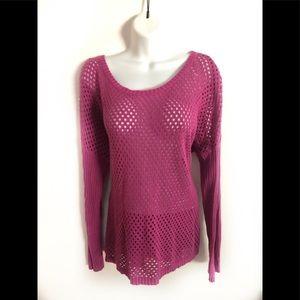 Prana Purple Crochet Long Sleeve Sweater Sz. L